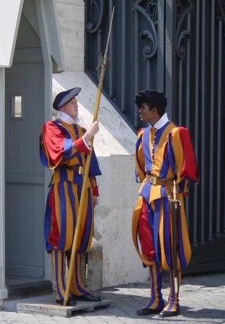 Pontifical Swiss Guards in their traditional uniform