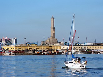 Lighthouse of Genoa - Panorama of the port with the Lanterna.