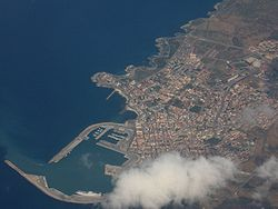 Aerial view of Porto Torres and the civic harbor