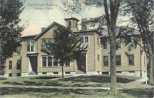 Canaan, Connecticut - Image: Postcard High School Bldg Canaan CT1910