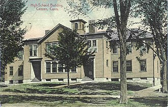 Canaan, Connecticut - Image: Postcard High School Bldg Canaan CT1910