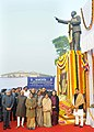 Pratibha Devisingh Patil, the Vice President, Shri Mohd. Hamid Ansari, the Prime Minister, Dr. Manmohan Singh and other dignitaries after paying tributes to Dr. B.R. Ambedkar on his Mahaparinirvan Diwas, in New Delhi.jpg