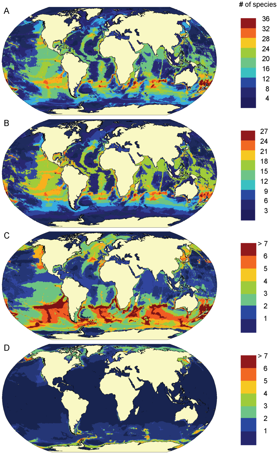 Predicted patterns of marine mammal species richness