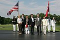 President George W. Bush and Mrs. Laura Bush welcome Prime Minister Anders Fogh Rasmussen of Denmark and his family to Camp David.jpg