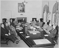 President Truman and his cabinet in the Cabinet Room of the White House. Clockwise around table from left, Secretary... - NARA - 199653.tif