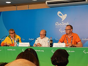 2016 Summer Paralympics - Press conference at the 2016 Rio Paralympics with Mario Andrada, Sir Philip Craven and Craig Spence