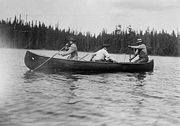 HRH The Prince of Wales canoeing in Canada, 1919