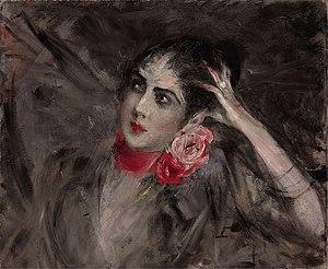 Catherine Radziwill - Princess Catherine Radziwiłł with a red ribbon around her neck, by Giovanni Boldini.