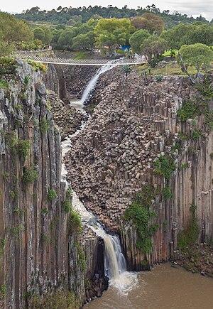 Comprehensive view of the waterfalls over the Basaltic Prisms of Santa María Regla, Huasca de Ocampo, State of Hidalgo, Mexico.