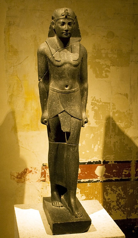 A statue that may represent Ptolemy III Euergetes in Pharaonic guise Ptolemy III Euergetes.jpg