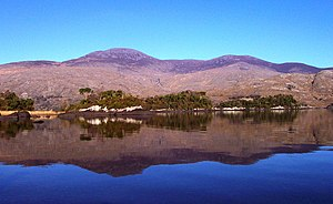 Purple Mountain, County Kerry - Purple Mountain from the south with Upper Lake in the foreground