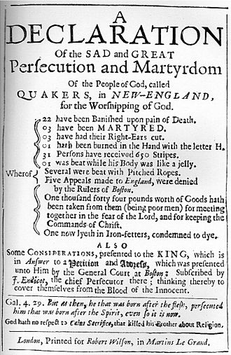History of the Quakers - Title page of book on Quaker persecution in New England