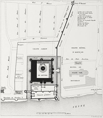 Louvre Castle - Plan from around 1880 of the Louvre castle in 1380 after the construction of the Charles V wall.