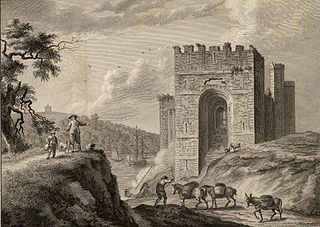 Queens Gate Caernarvon, engraving