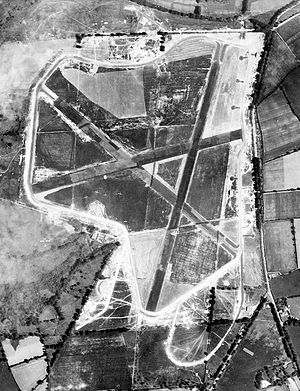 RAF Culmhead - Aerial photograph of Churchstanton airfield, looking north, 26 June 1942. Note several fighter aircraft parked on the grassy areas.