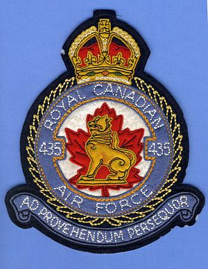 435 Transport and Rescue Squadron - A WWII RCAF heraldic jacket patch for 435 Squadron. Although there is no back-stamp, the design and quality are indicative as being made by Crest Craft, Saskatoon.