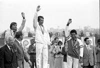 RIAN archive 585172 Boris Isachenko (USSR), Tomi Poikolainen (Finland), Giancarlo Ferrari (Italy) on the victory podium.jpg