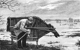 """Stalking horse - """"Approaching the fowl with stalking-horse"""", an 1875 illustration of a cut-out horse shape used in hunting"""