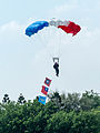 ROCA Dragon Team Crew with Military Flags of the Republic of China Descending over Military Academy Ground 20140531c.jpg