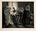 Rabies vaccination in Pasteur's clinic in Paris. Lithograph Wellcome V0006860.jpg