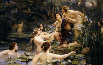 Potamides (mythology) - Potamides with a shepherd, painting by Henrietta Rae, 1909.