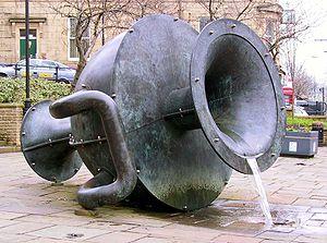 "Edward Allington - Edward Allington's sculpture ""Tilted Vase"" in the centre of Ramsbottom"