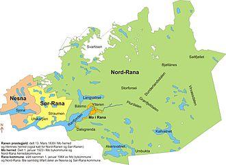 Rana, Norway - Mo, Nord-Rana, and parts of Nesna and Sør-Rana merged in 1964 to form Rana