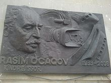 Plaque on building where Azerbaijani film director and director of photography Rasim Ojagov lived in Baku
