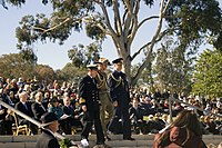 Rear Admiral Davyd Thomas AM, CSC, RAN, Major General Paul Symon, AO and Air Marshal Mark Binskin, AM during the wreath laying at the NADC.jpg
