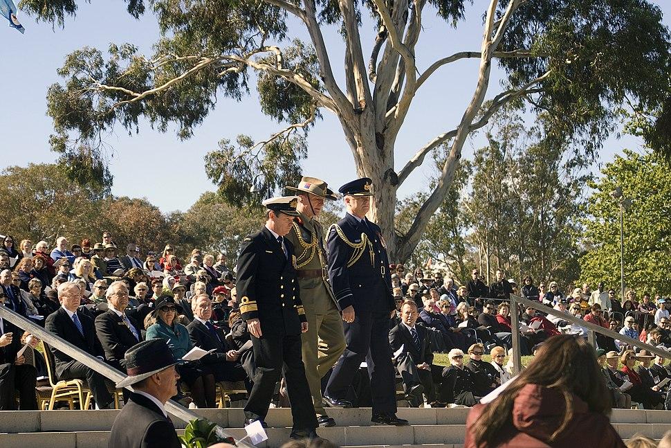 Rear Admiral Davyd Thomas AM, CSC, RAN, Major General Paul Symon, AO and Air Marshal Mark Binskin, AM during the wreath laying at the NADC