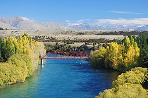 Luggate - The Red Bridge across the Clutha River at Luggate.