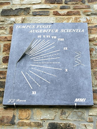 Tempus fugit - An example of the phrase as a sundial motto in Redu, Belgium.