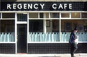 "Greasy spoon - The Regency Café in Pimlico,  central London, is a well-preserved art deco style 1940s ""greasy spoon"" cafe."