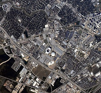 "NRG Park - This astronaut photograph highlights the NRG Park area of Houston's ""inner loop,"" the part of the city located within Interstate Highway 610."