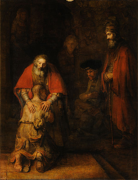 The Return of the Prodigal Son by Rembrandt, based on the Parable of the Prodigal Son illustrating forgiveness Rembrandt Harmensz van Rijn - Return of the Prodigal Son - Google Art Project.jpg
