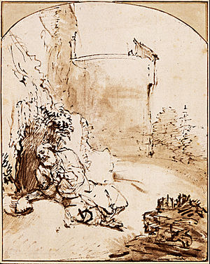 Book of Jonah - The Prophet Jonah before the Walls of Nineveh, drawing by Rembrandt, c. 1655