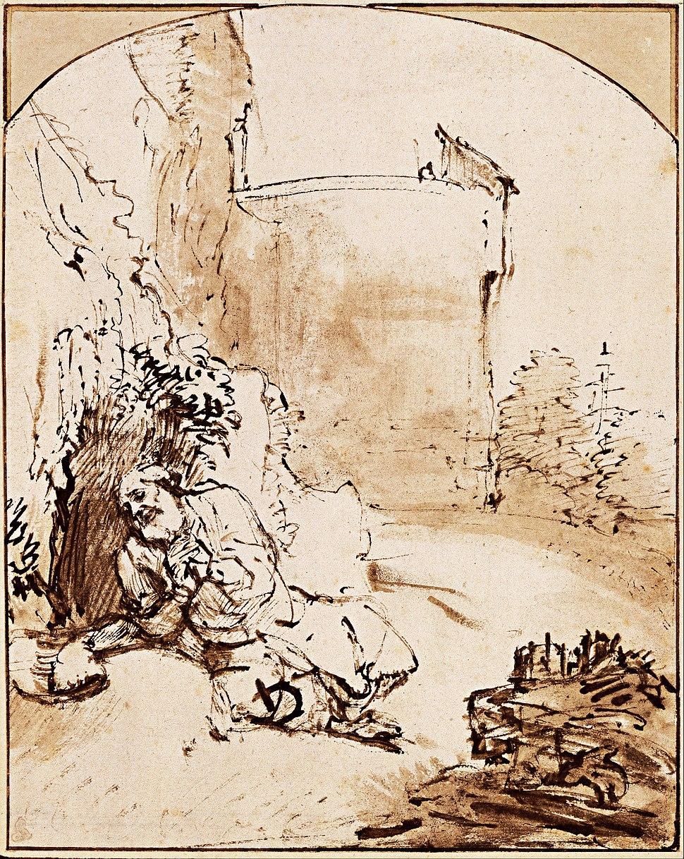 Rembrandt Harmenszoon van Rijn - The Prophet Jonah before the Walls of Nineveh, c. 1655 - Google Art Project