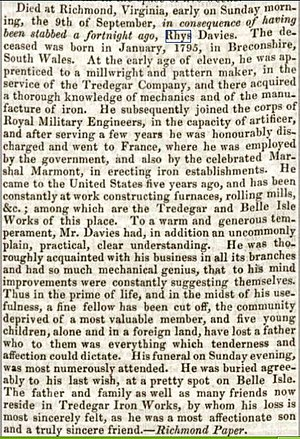 Tredegar Iron Works - Death of Rhys Davies from stab wound 1838