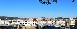Richmond District, San Francisco - A panorama of the Richmond District as seen from the Lincoln Park golf course, facing east.