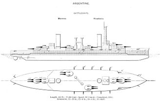 Rivadavia-class battleship - The Rivadavia class were the second dreadnought class purchased by a South American country and the only ones to not be built by a British company. Ordered in response to the Minas Geraes class, they mounted the same-size main battery as the Brazilian ships (12-inch), but the Argentine ships were much larger and significantly better-armored.