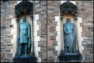 Edinburgh Castle - Statues of Robert the Bruce by Thomas Clapperton and William Wallace by Alexander Carrick were added to the Gatehouse entrance in 1929
