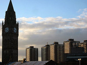 Rochdale - Image: Rochdale Town Hall & 7 Sisters