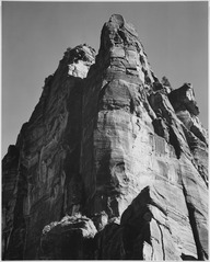"Rock formation, from below, ""In Zion National Park,"" Utah. (Vertical orientation), 1933 - 1942 - NARA - 520021.tif"