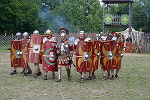 Roman military personal equipment - Reenactment of a Roman legion attack