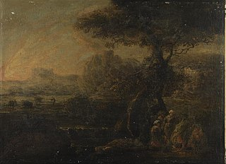 Romantic landscape with travellers around a camp fire