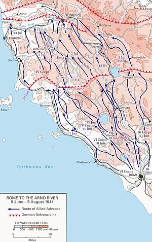 Trasimene Line - Allied advance from Rome to the Arno, 1944.