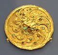 Rondelle with rosette and whorl-circle, China, 3rd-4th century AD, bronze, gold, semi-precious stones - Royal Ontario Museum - DSC04132.JPG