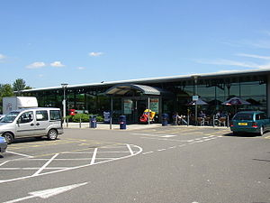 Northampton services - The southbound services building.