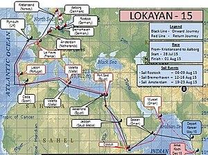 INS Tarangini (A75) - Route map of INS Tarangini for Lokayan - 15.
