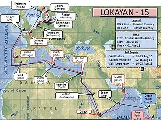 INS Tarangini (A75) - Route map of INS Tarangini for Lokayan - 15.
